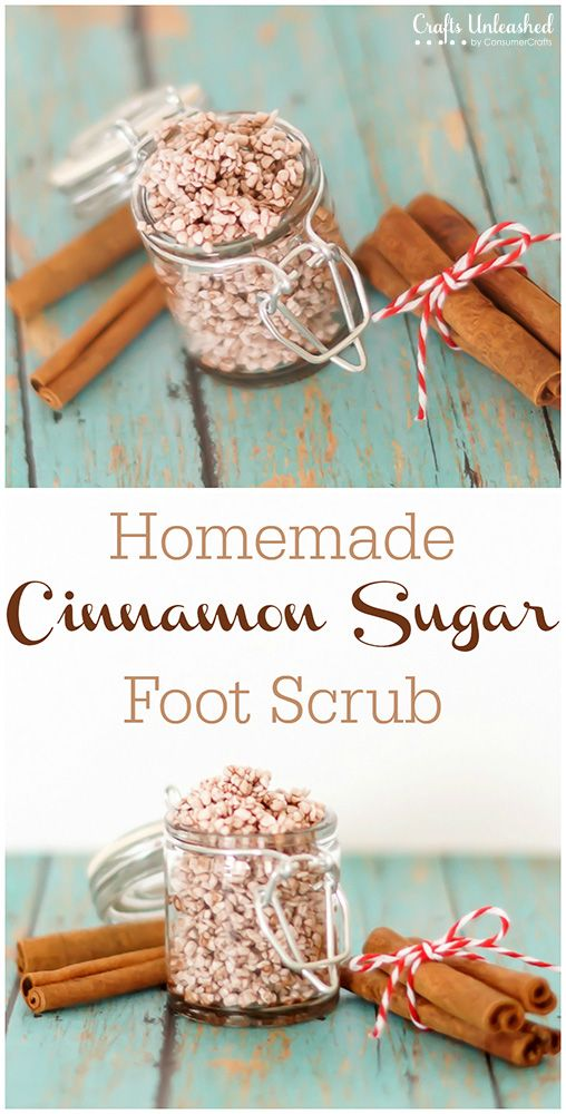 This cinnamon sugar homemade foot scrub is so simple to make and is perfect for exfoliating feet this winter or for giving as a gift!
