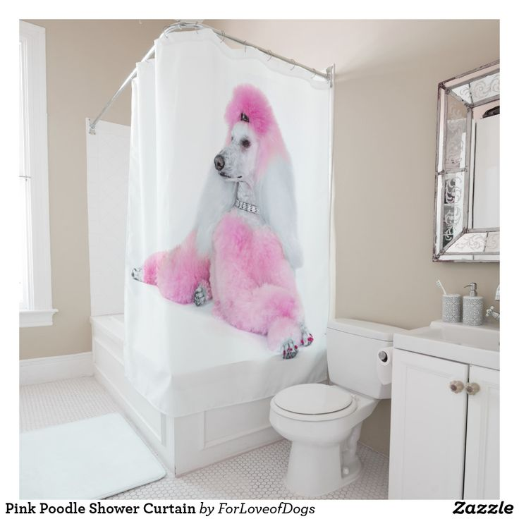 Pink Poodle Shower Curtain Zazzle Com Fabric Shower Curtains