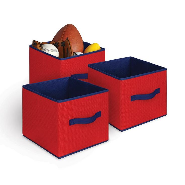 Collapsible Storage Cube (3-Pack), Red/Blue Trim