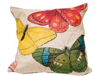 Cojín lino insectos - 3 mariposas cuadrado by CasaMolino Deco