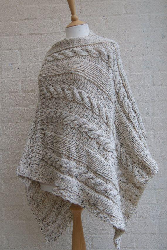 Chunky Knit Haferflocken Poncho Women Poncho Von