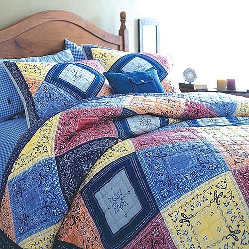 A patchwork quilt made from bandanas and old jeans, what a lovely idea (image only) looks very cheerful and would be quite cheap and easy to make