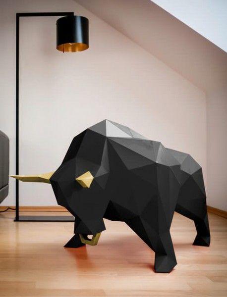 3d low poly bull paper trophy