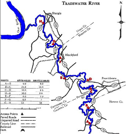 Tradewater River KY 70 to Ohio River Map