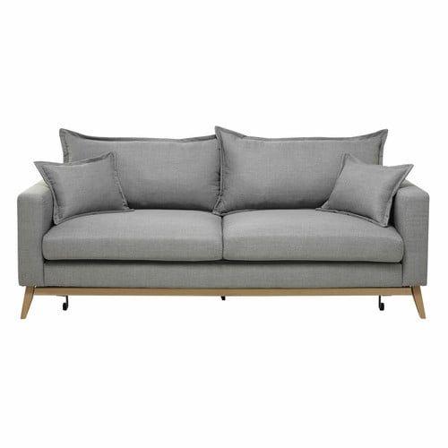 Duke - Ausziehbares Sofa 3-sitzig aus Stoff, hellgrau
