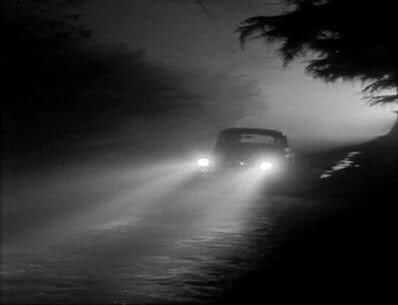 Professor Harrington driving home (a doomed man) after visiting Mr Karswell - Night of the Demon (1957)