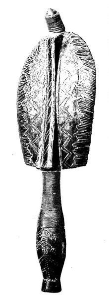 Great Bwété. Wood and copper: the nose cone of the face is contained at the top is rounded, the eyes placed very high. On the back, it is remarkable the way of fastening of the slats in a decoration in a zig-zag, taken on the plates and the vertical braid midrib. Coll. Mestach.  Kota Mahongwé. Boho-na-mbwete. - γεώργιος 1952
