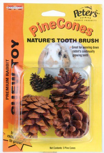$6.40-$3.10 Peter's Pinecones are a great toy for your pet rabbit; pine cones are natures prefect chew toy for rabbits.