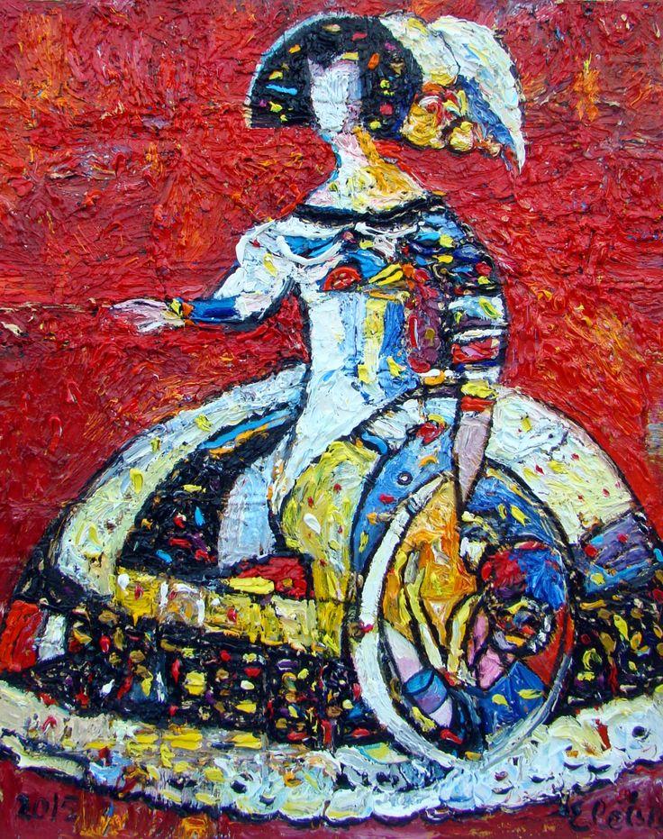 """""""Королевский портрет"""", 2016,  х.м., 90х70,  150 т.р. Великолепная объемная фактура  даёт ощущение, что картина просто выпадает из холста в реальность. Картина украсит любой интерьер и станет великолепным цветовым акцентом вашего дома"""