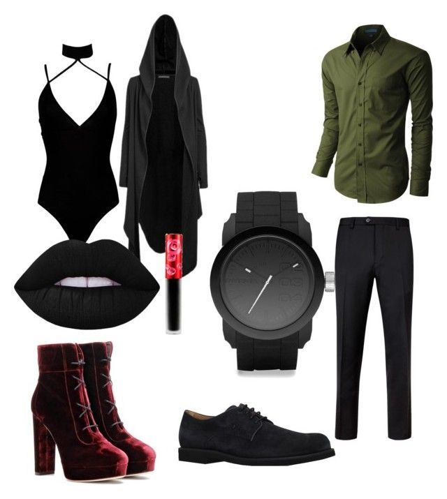 """""""nix&eric"""" by oliviasjstad on Polyvore featuring Boohoo, Jimmy Choo, Lime Crime, LE3NO, Ted Baker, Tod's and Diesel"""