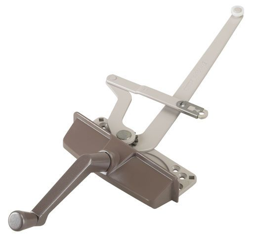 Casement Operator, Window Operator. 4 3/8 in. (RH, Link Offset Up, Top Clip, Screws, handle, cover, and track sold seperately)