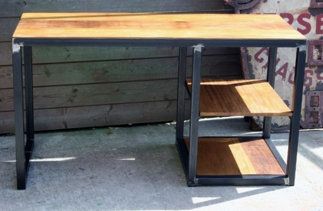 Bureau style industriel métal bois iroko bureau