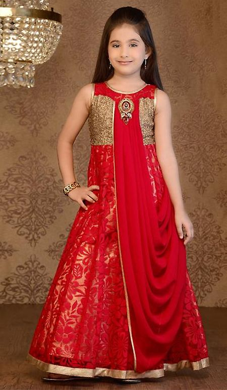 Red Brasso Party Wear Embroidered Designer Gown
