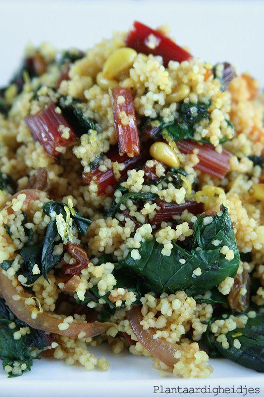 Plantaardigheidjes: Couscous met snijbiet en pijnboompitten