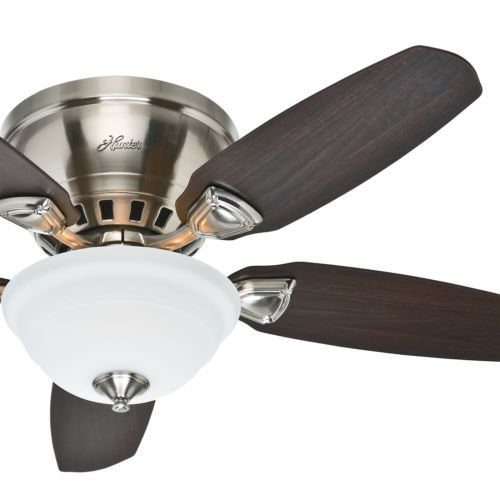 "17 Best images about Ceiling Fans on Pinterest | Hunters, Ceilings ...:Hunter 46"" Low Profile Flush Mount Ceiling Fan Brushed Nickel With Light,Lighting"