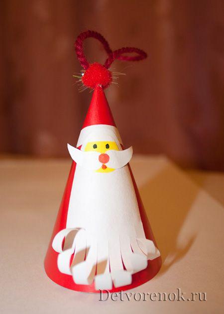 Новогодняя поделка из картона - Дед Мороз.