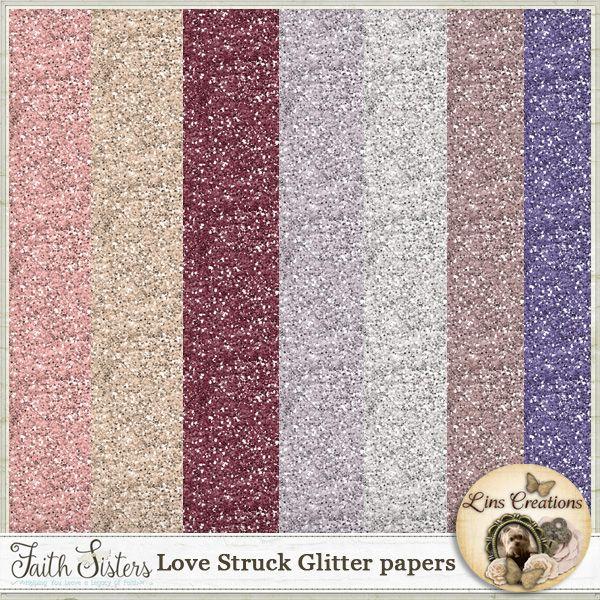 Love Struck glitter papers