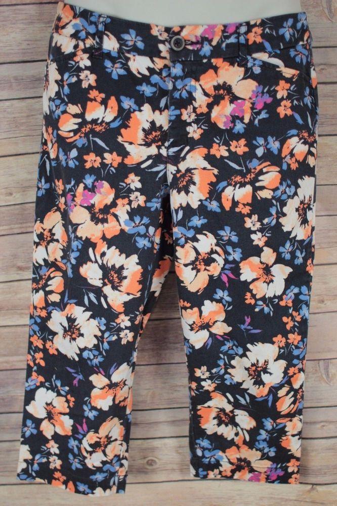 St Johns Bay Women's Capri Pants Size 6 Black Floral Cropped Slacks  #StJohnsBay #CaprisCropped