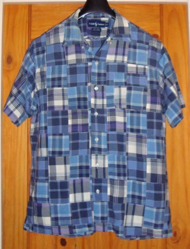 RALPH-LAUREN-Blue-Plaid-Patchwork-Bob-Camp-Short-Sleeve-Mens-Shirt-Size-M