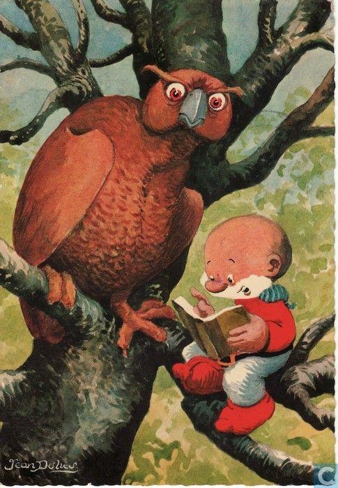 Ansichtkaarten - Strips: Paulus de Boskabouter - Paulus en Oehoeboeroe de uil