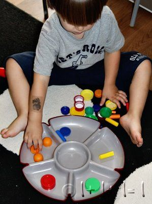 Sorting Colored Lids ~ Tot Tray {37 months}