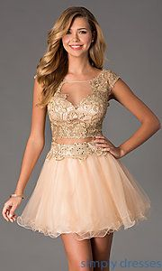 Buy Short Two Piece Illusion Prom Dress by Dave and Johnny at SimplyDresses