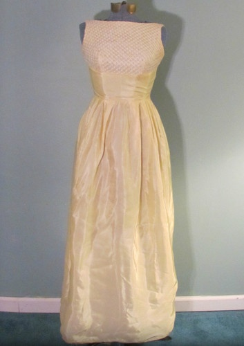 Vintage 1950s Womens Light Yellow Prom Dress Satin Formal Gown Beaded Top Small | eBay