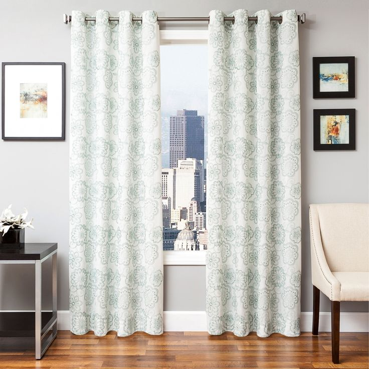 Softline Embroidered Curtain Panel Oatmeal GTM Ivory