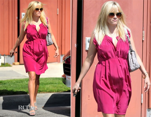 gray heelsReese Witherspoon, Celebrities Style, Gray Heels, Vanessa Bruno, Ree Witherspoon, Bruno Dresses, Easter Dresses, Maternity Style, Pregnancy Style