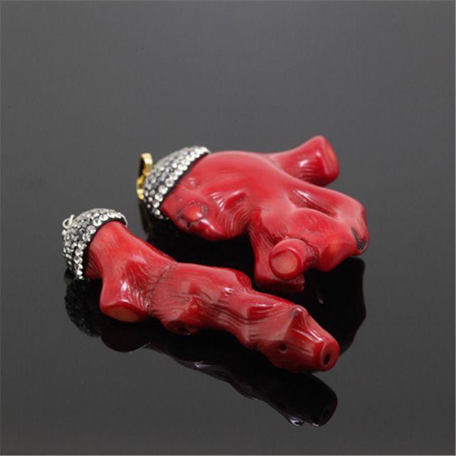 red coral pendant pave black rhinestone, with irragular shape