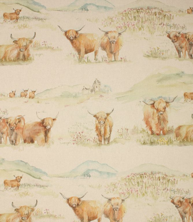 Highland cattle fabric is a gorgeous, unusual country fabric depicting highland cows drawn in watercolours and printed onto a linen/cotton base cloth. A beautiful fabric it is suitable for curtains, blinds and cushions and coordinates with the matching highland cattle cushion.