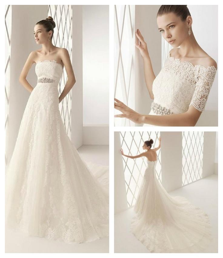 Vestido de novia modelo #Bolsena de Marfil para #Innovias escote palabra de honor elaborado en encaje italiano y plumeti con corte en A y acabado en larga cola #vestidos