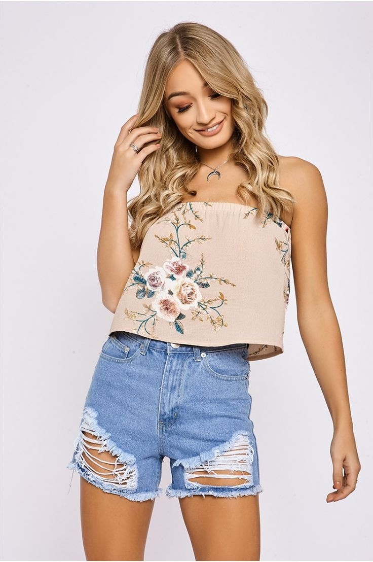 CAIRA NUDE FLORAL BANDEAU FRILL TOP