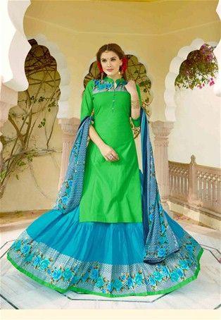 Lime Green Cotton Printed Achkan Style Salwar Kameez #collarneck #Style #sale #dress #Salwar #Kameez #nikvik #usa #designer #australia #canada #suits #collar