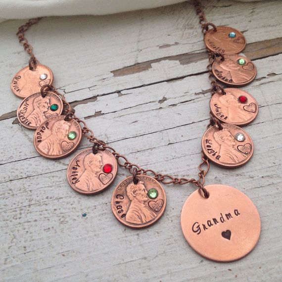 Custom Lucky Us Penny Necklace wedding by faeriekissageStudio