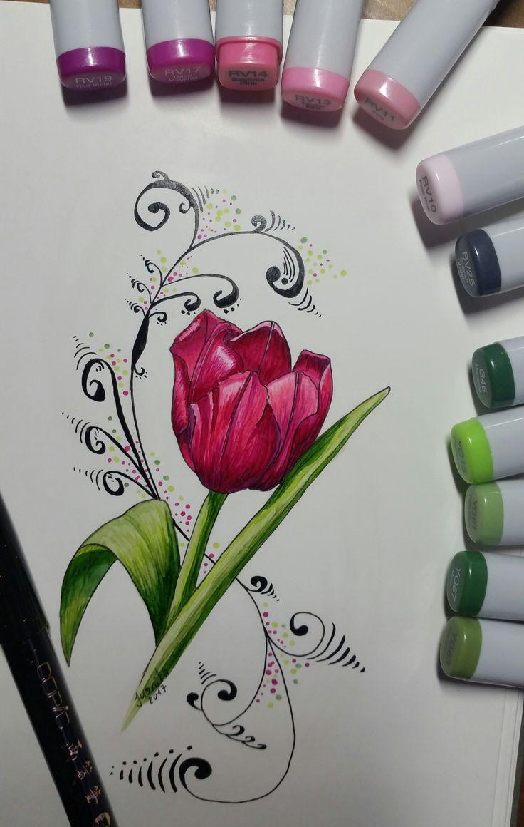 Tulip with Copics