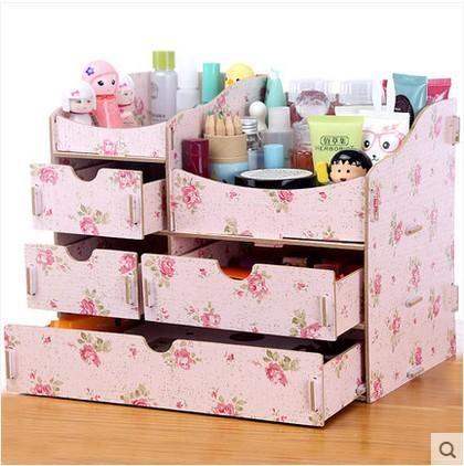 [Visit to Buy] New Diy Wood Makeup Organizer Jewelry Cosmetic Organizer 1010A 1010B 1010C Modern Storage Box Drawer Organizer Wooden Box #Advertisement