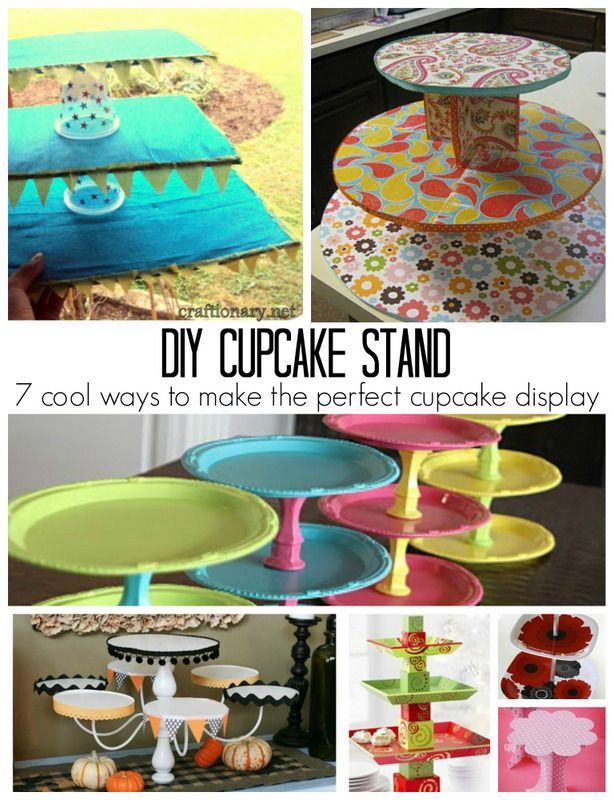 Make a DIY cupcake stand with things you can find around the house. #party #cupcake_stand