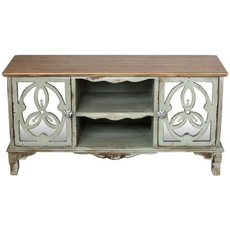 2-door wood sideboard in mint with two open shelves and overlaid mirrored panels. Product: SideboardConstruction Mat...