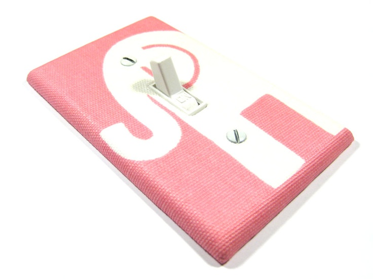 Light Switch Cover Light Pink and White Elephant Nursery Decor Modern Kids Room Infant Girls Bedroom 975. $8.00, via Etsy.