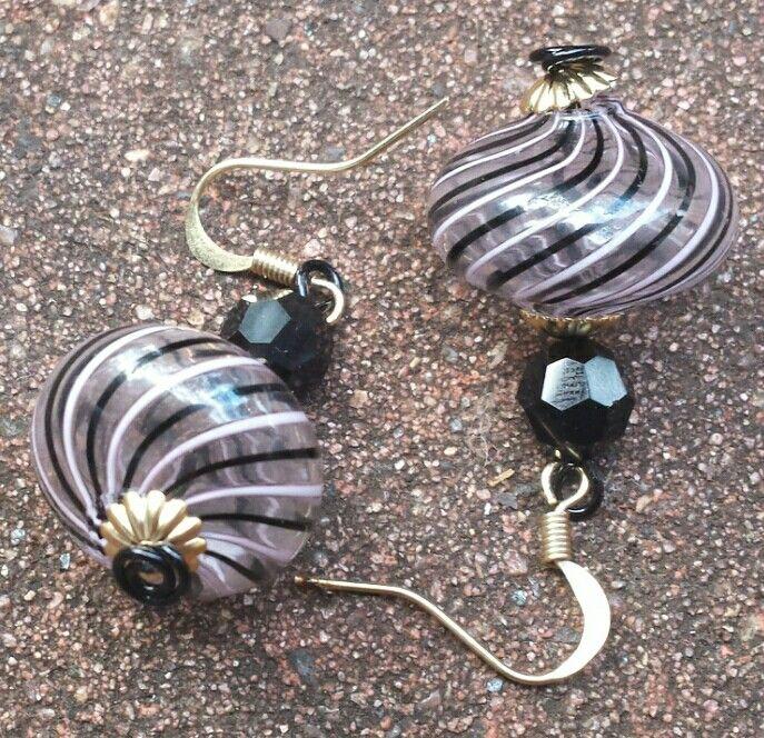 Mouth blown Murano glass bead earrings I created.