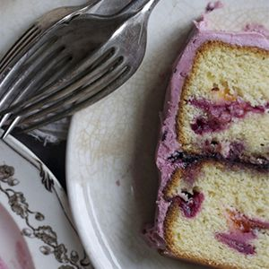 Orchard Plum & Blackcurrant Madeira Cake with Mascarpone-Cassis Icing by Imen McDonnell.   Buttery madeira cake with rich summer fruits and a creamy mascarpone-cassis icing.
