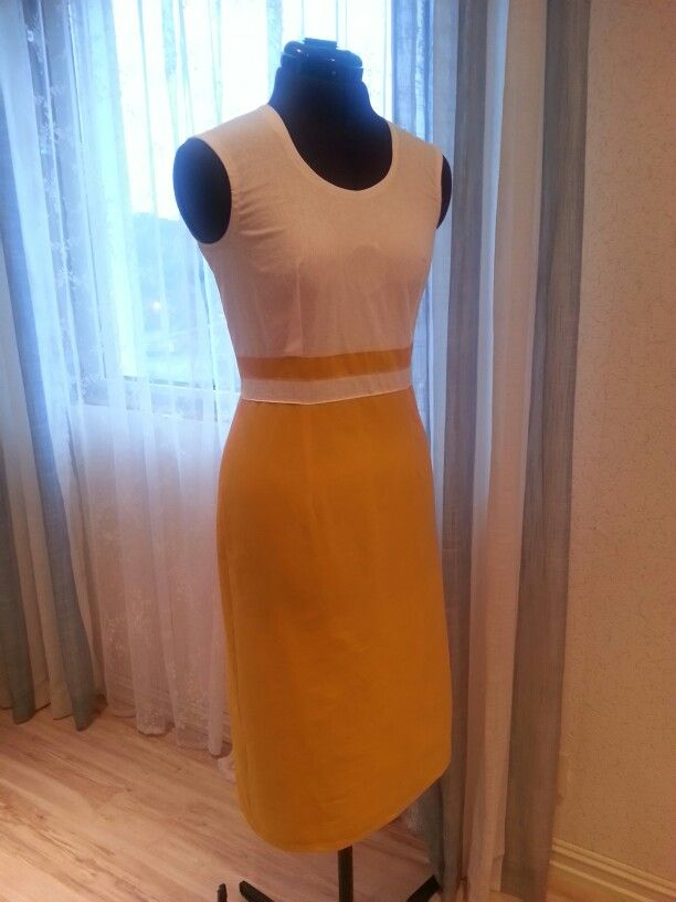 Yellow White Dress