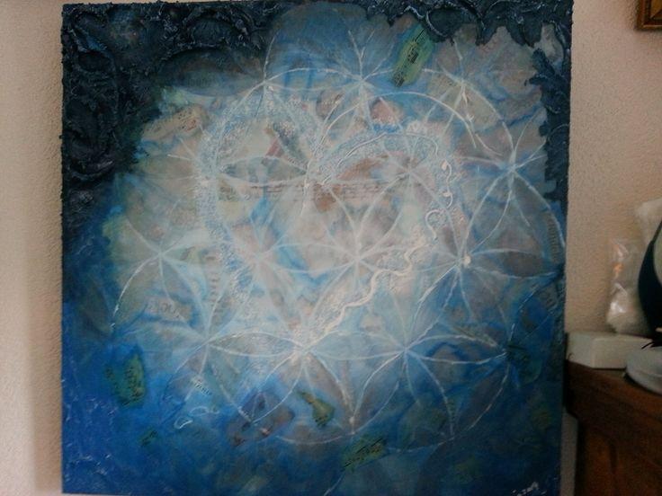 'Positive', Arja Sprengers 2014. Acrylverf, teksten, afbeeldingen, zand. #kunst #kunstwerk #schilderij #art #painting  #cadeau #kado #spiritueel #arjasprengers #acrylics #acrylic paint #acrylic painting #acrylic colours