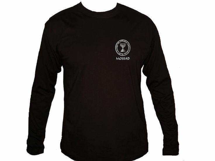 Israel Intelligence Agency - Mossad  silk printed customized black sleeved t-shirt S-2XL by mycooltshirt on Etsy