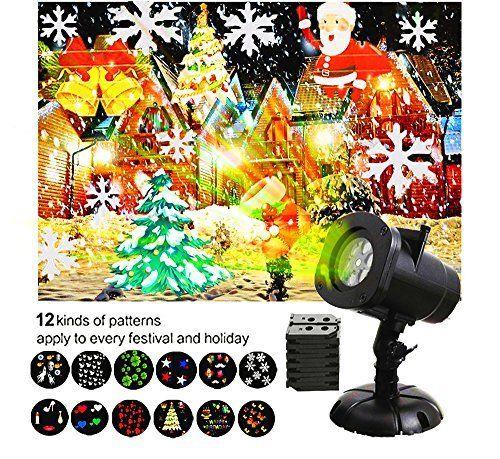 LED Christmas Projecteur Lumière MINPE Imperméable à l'eau Flocon de Neige d'étoile Projecteur Paysage avec 12 Glissières Remplaçables…
