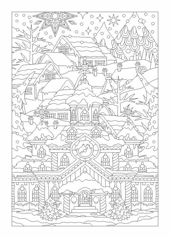 Winter scene colouring page
