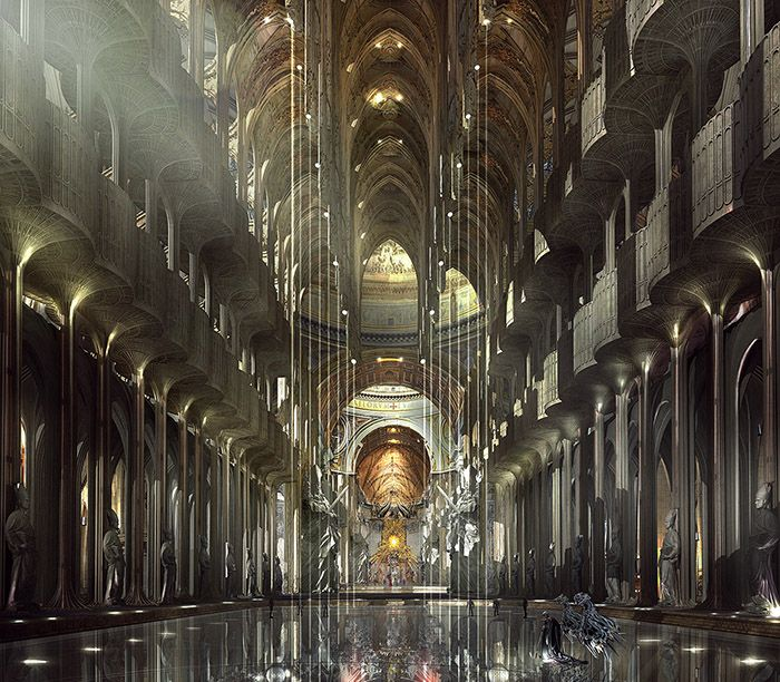 The Jupiter Stockworks - Original concept art for Balem Abrasax's throneroom at the Jupiter Stockworks. - Jupiter Ascending – Official Look Book