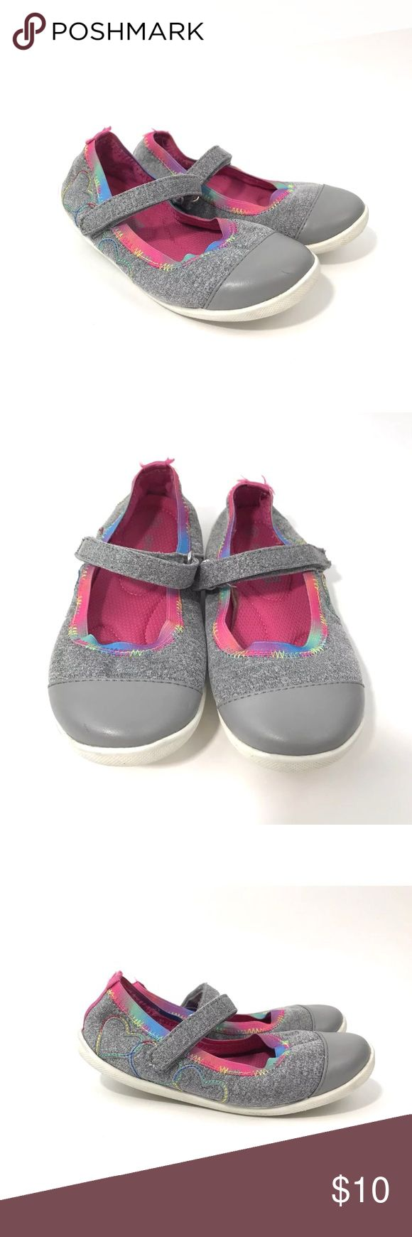 Smartfit Girl's Size 10 Grey Hearts Casual Shoes