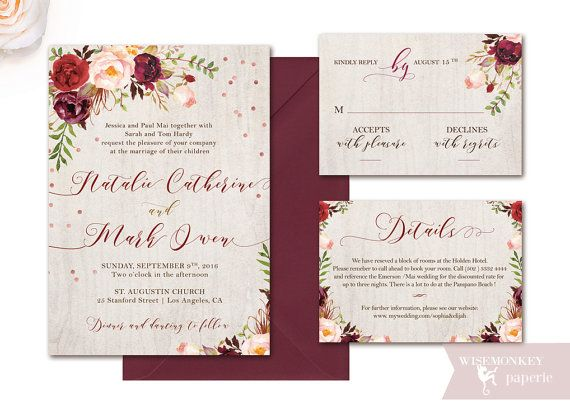 Wedding Invitation set fall rustic autumn by WisemonkeyPaperie